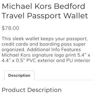 Michael Kors Bags - Michael Kors passport holder